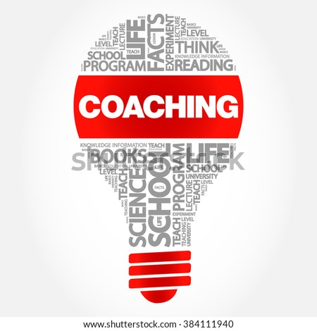 COACHING bulb word cloud, business concept - stock vector