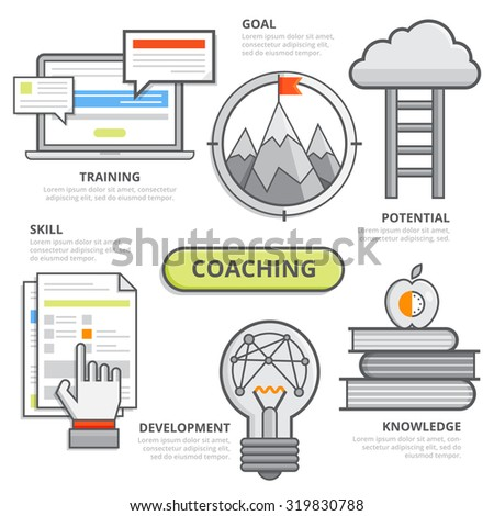 Coaching business design concept, corporate leadership coaching, effective planning, goal development, skill training, potential coaching. Modern isolated vector illustration, Infographic template. - stock vector