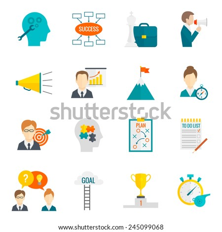 Coaching business leadership management and teamwork motivation icon flat set isolated vector illustration - stock vector