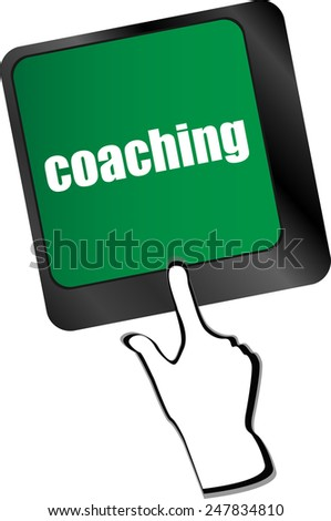 Coaching Button on Modern Computer Keyboard with Word coaching on It - stock vector