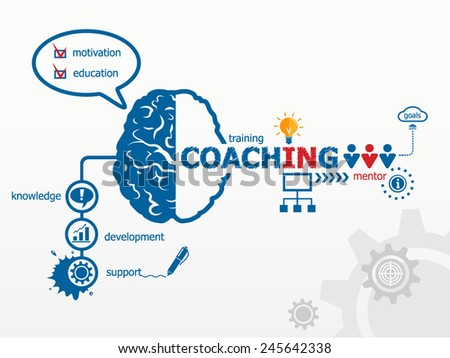 Coaching concept. Training concept illustration design over a notepad - stock vector