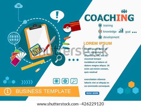 Coaching concepts of words learning and training. Coaching flat design banners for website and mobile website, easy to use and highly customizable.