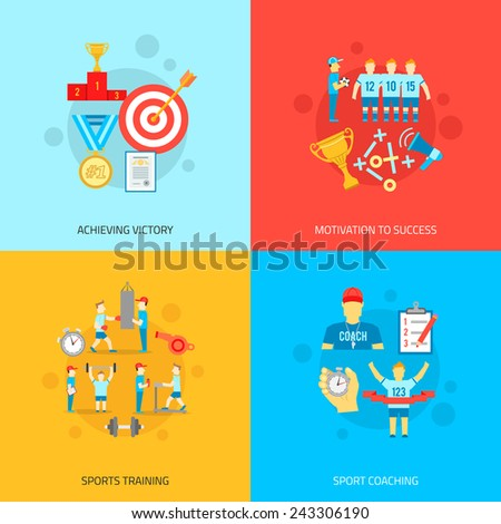 Coaching design concept set with achieving victory motivation to success sports training and coaching flat icons isolated vector illustration - stock vector