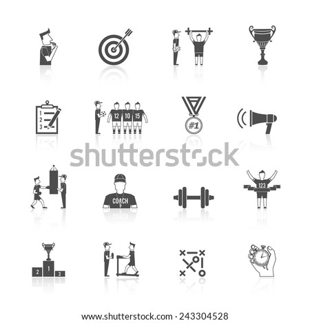 Coaching sport tournament athlete training black icon set isolated vector illustration - stock vector