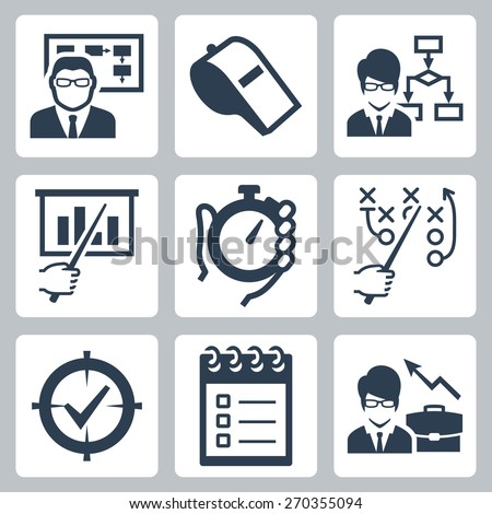 Coaching, training and mentoring vector icon set - stock vector