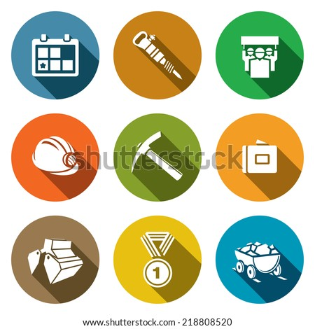 Coal industry flat icons set - stock vector