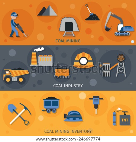Coal industry horizontal banners set with mining inventory elements isolated vector illustration - stock vector