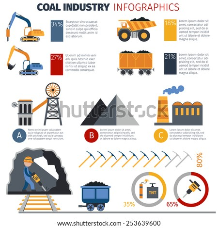 Coal industry metallurgy infographics with manufacture and transportation equipment and charts vector illustration - stock vector