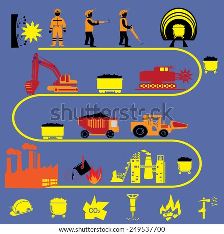 Coal mining factory industry icons set isolated vector illustration - stock vector