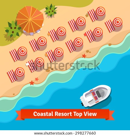 Coastal resort beach, sea and boat, top view. Flat style vector illustration. - stock vector
