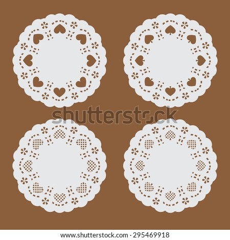 coaster paper,perforated paper texture banner with heart and spade in circle shape, circle paper with perforated pattern - stock vector