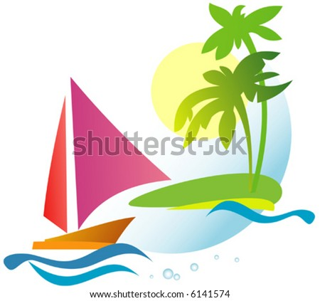 Coastline with sailboat and palm trees - stock vector