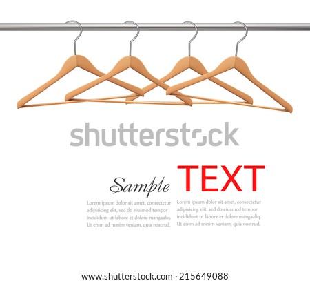 Coat hangers on a clothes rail. Vector - stock vector