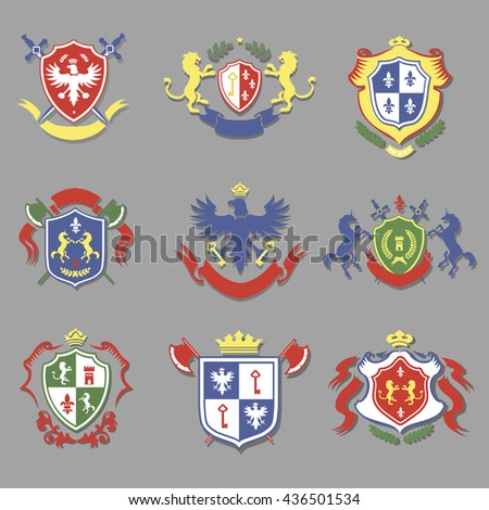 coat of arms collection, heraldry shields design set - stock vector
