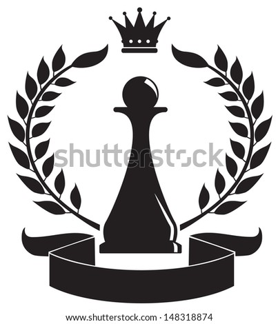 coat of arms depicting a chess pawn - stock vector