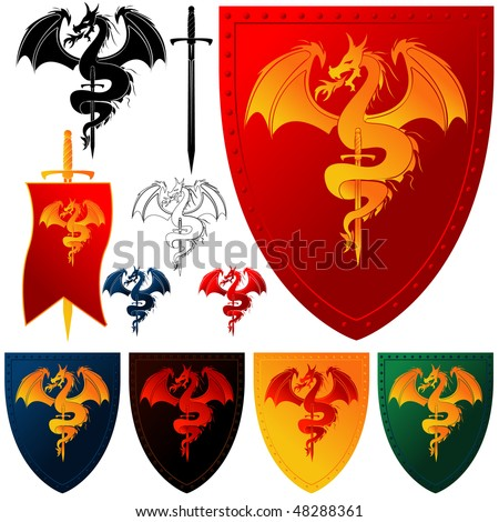 Coat of Arms - Dragon and Sword - stock vector