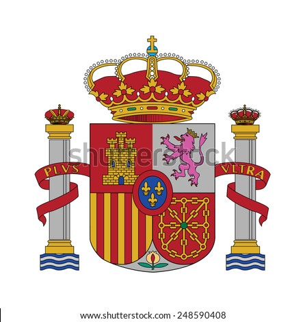 Coat of arms, Flag of Spain, vector illustration - stock vector