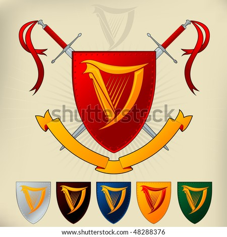 Coat of Arms - Harp and Sword - stock vector