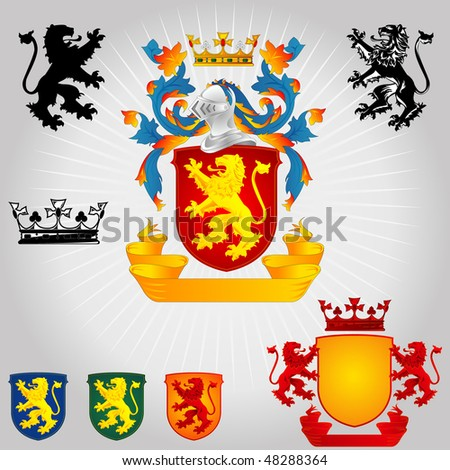 Coat of Arms - Lions and Crown - stock vector