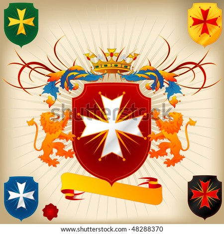 Coat of Arms - Lions, Cross and Crown - stock vector
