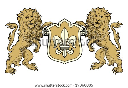 coat of arms lions vector - stock vector