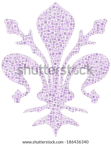 Coat of arms of Florence - Tuscany - in a mosaic of little squares - stock vector