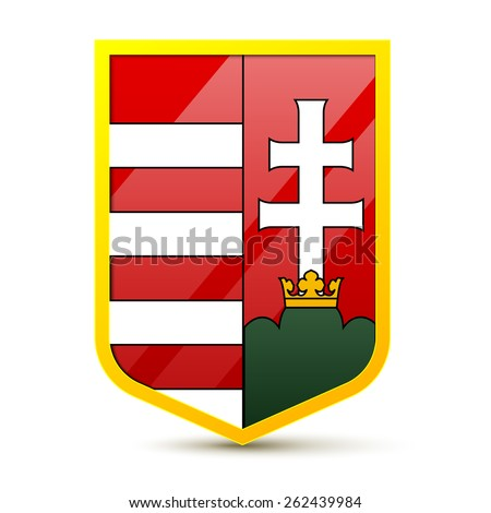 Coat of arms of Hungary on a white background, excellent vector illustration, EPS 10 - stock vector