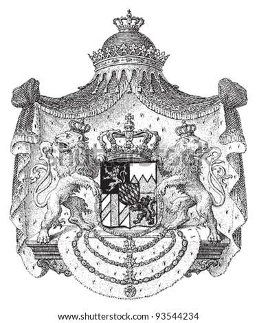 Coat of arms of Kingdom of Bavaria (Bayern) 1835–1918 (Germany)  / illustration from Meyers Konversations-Lexikon 1897 - stock vector