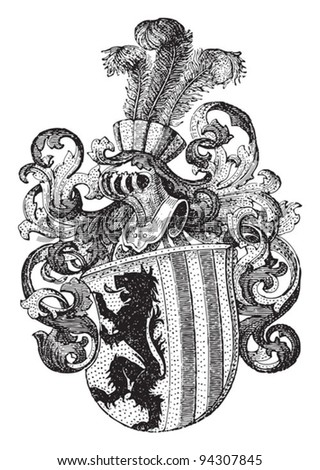 Coat of arms of Leipzig (Germany) / illustration from Meyers Konversations-Lexikon 1897 - stock vector