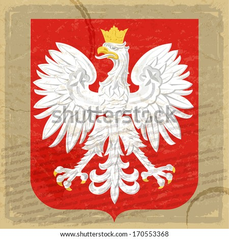 Coat of arms of Poland on the old postage card - stock vector