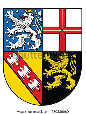 Coat of arms of Saarland state, Germany. Original and simple flag isolated vector in official colors and Proportion Correctly, vector illustration isolated - stock vector