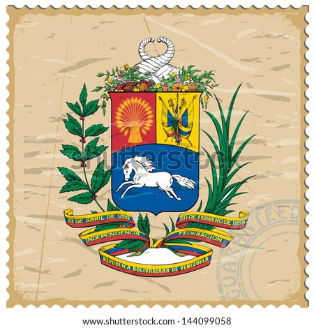 Coat of arms of  Venezuela on the old postage stamp - stock vector