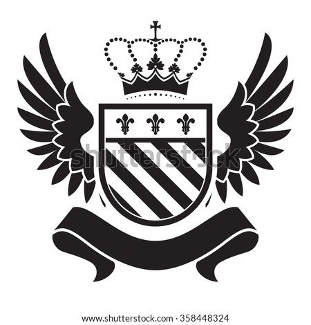 Coat of arms - shield with crown, fleur-de-lis, two wings at the sides. Based on and inspired by old heraldry. - stock vector
