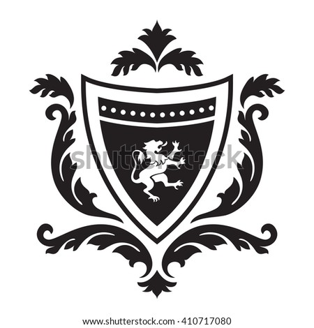 Coat of arms - shield with gryphon and floral ornament. Based on and inspired by old heraldry. - stock vector