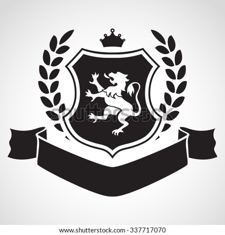 Coat of arms - shield with lion, laurel, crown at the top and ribbon. Based on and inspired by old heraldry. - stock vector