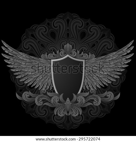 Coat of arms. Shield with wings, EPS 10 contains transparency, file has layers. - stock vector