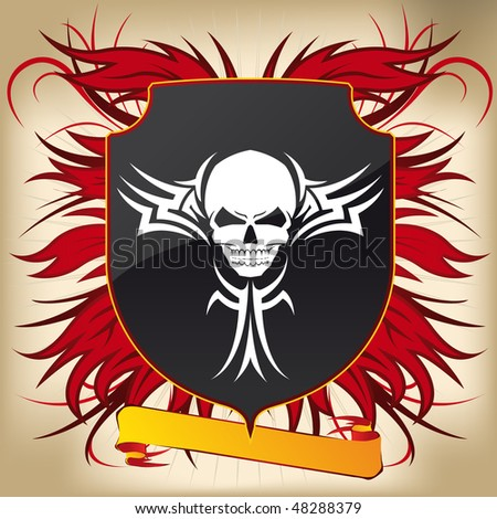Coat of Arms - Tribal Skull - stock vector