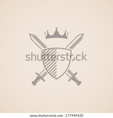 coat of arms. vector illustration with shield, swords and crown.  - stock vector