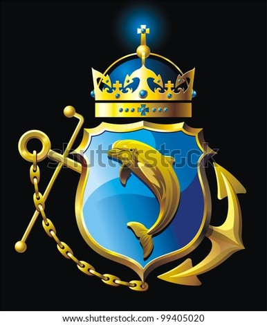 Coat of arms with Dolphin . Vector illustration with anchor, shield, dolphin, crown and chain
