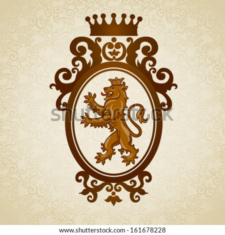 Coat of arms with lion. Vector baroque frame in Victorian style. Element for design. It can be used for decorating of invitations, greeting cards, decoration for bags and clothes. - stock vector