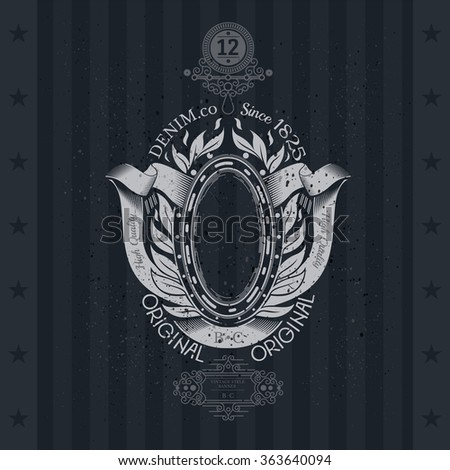 Coat of Arms With Oval Frame Ribbons and Laurel Wreath On Blackboard. Vintage label - stock vector