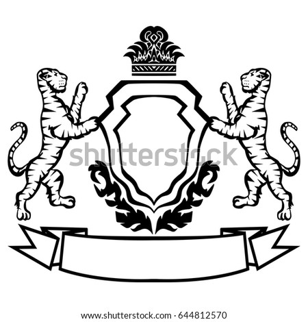 coat arms tigers tattoo design element heraldry stock vector rh shutterstock com coat of arms vector art medieval coat of arms vector