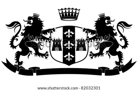 Coat of arms with two lions and crown on white background - stock vector