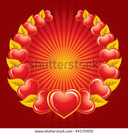 coat or a wreath of hearts. Vector image.