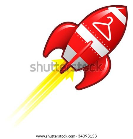 Coathanger icon on red retro rocket ship illustration good for use as a button, in print materials, or in advertisements.