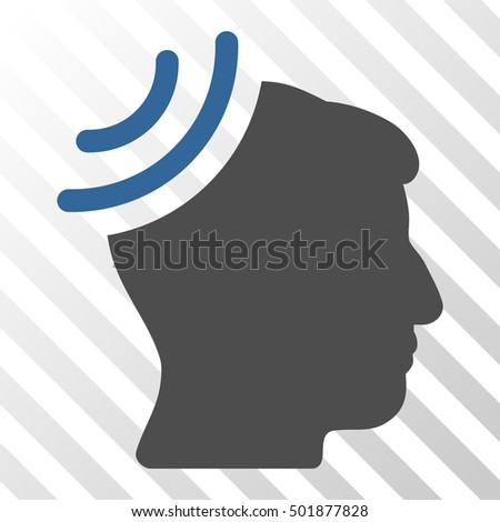 Cobalt And Gray Radio Reception Brain interface icon. Vector pictograph style is a flat bicolor symbol on diagonal hatch transparent background.
