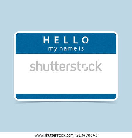 Cobalt blue blank name tag sticker HELLO my name is. Rounded rectangular badge with gray drop shadow on color background. Vector illustration clip-art element for design in 10 eps