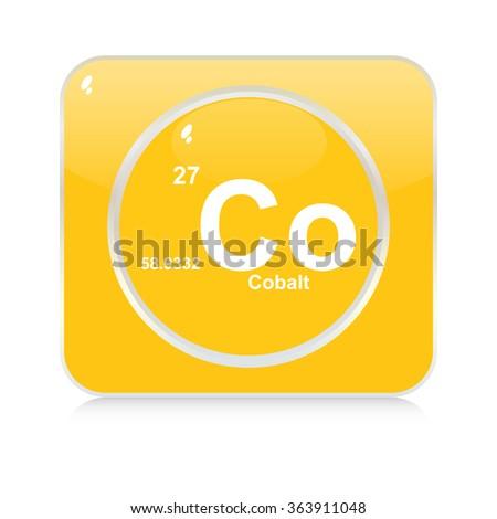 cobalt chemical element button - stock vector