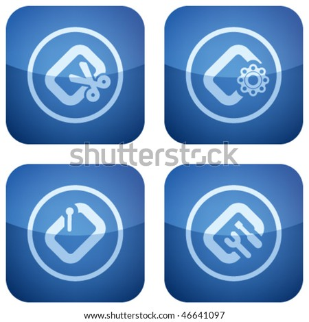 Cobalt Square 2D Icons Set: Computer File Types