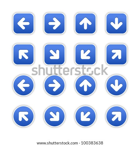 Cobalt stickers with arrow sign. Circles and rounded square shapes with gray drop shadow on white background. This vector illustration saved in 10 eps. - stock vector